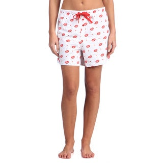 Leisureland Women's Smooch Lips Cotton Knit Boxer Shorts