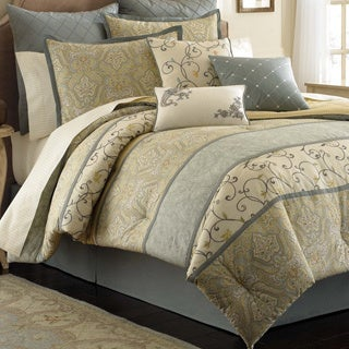 Laura Ashley Berkley 4-piece Comforter Set with Euro Sham Separate Option