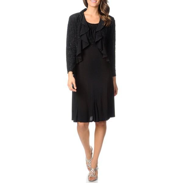 R & M Richards Women's Black Sequin Accent Jacket and Dress Set