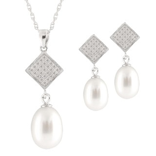 Sterling Silver 7-9mm White Drop Shape Freshwater Pearls and CZ Estate Necklace and Butterfly Earrings