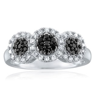 10k White Gold 1/2ct TDW Black and White Diamond Ring (H-I, I1-I2)