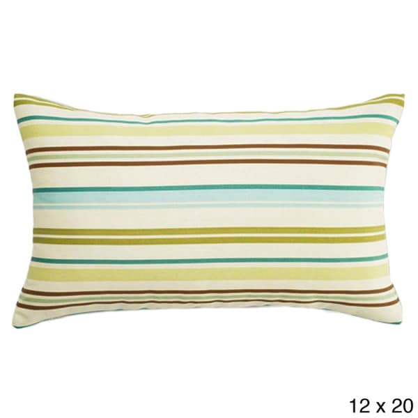 Aqua Thick-stripe Outdoor Accent Pillow