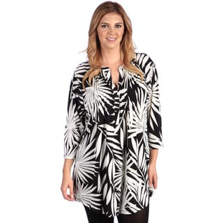 La Cera Women's Plus Size Black Scroll Printed Tunic