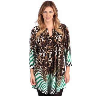 La Cera Women's Plus Size Brown Scroll Print Tunic