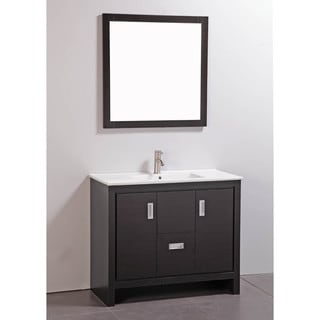 Ceramic Top 39-inch Single Sink Bathroom Vanity with Matching Mirror