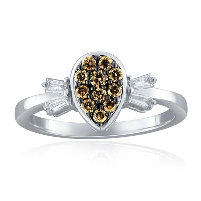 10k White Gold 2/5ct TDW Brown and White Diamond Ring (H-I, I1-I2)