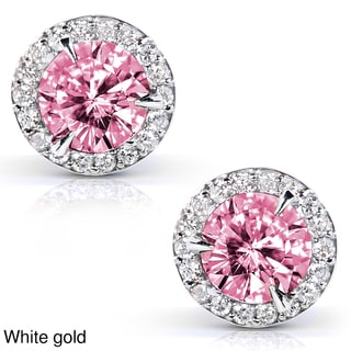 Annello 14k Gold Pink Moissanite and 1/4ct TDW Halo Diamond Earrings (G-H, I1-I2)