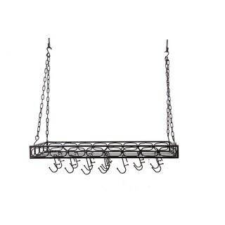 Old Dutch Matte Black Rectangular 16-hook Hanging Pot Rack