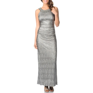 R & M Richards Women's Long Silver Lame Dress