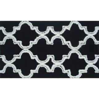Hand-hooked Jafar Black Area Rug (7' x 10')