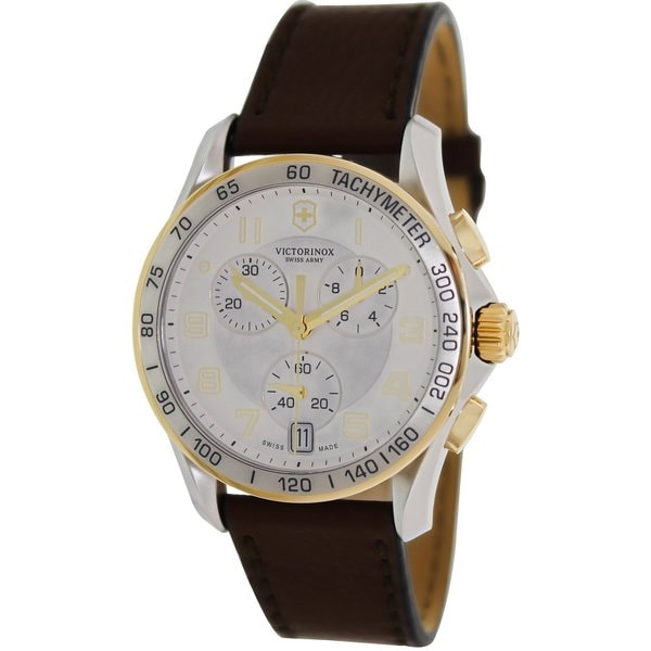 Mens Brown Leather Swiss Quartz Watch