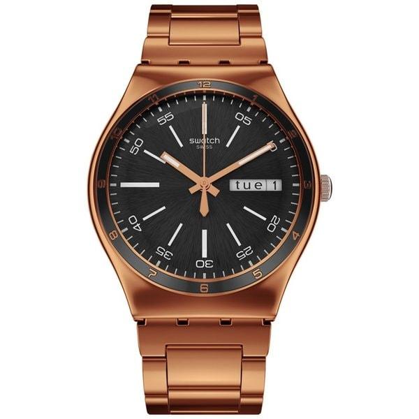 Swatch Mens Irony Rosegoldtone Stainless Steel Swiss Quartz Watch