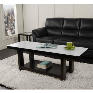 58 in. Black Wood Glass Coffee Table