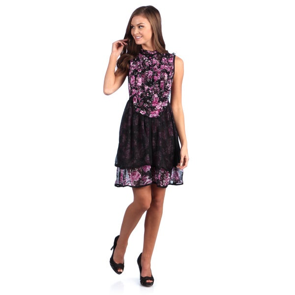 Leisureland Women's Floral Rose Printed Ruffle Chiffon Dress