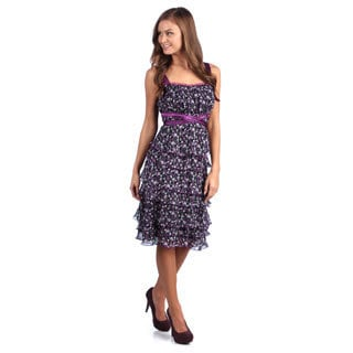 Leisureland Women's Purple Floral Printed Ruffle Tiered Chiffon Dress