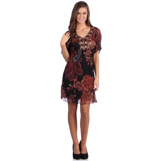 Leisureland Women's Paisley Floral Bead Embroidered Chiffon Dress
