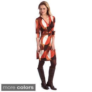 Amelia Women's Geometric Print Gold Chain Wrap Dress