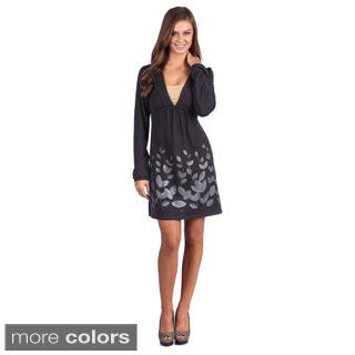 Leisureland Women's Leaf Print V-neck Long Sleeve Knit Dress