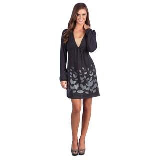 Leisureland Women's Leaf Print V-neck Long Sleeve Knit Dress