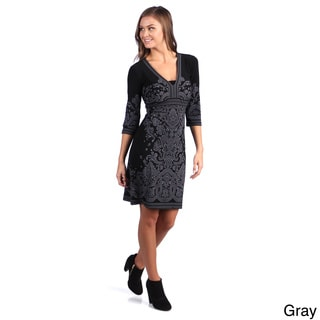 Leisureland Women's Floral Printed Long Sleeve Dress