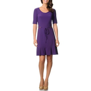 Lennie for Nina Leonard Women's Violet Chain Belt Jersey Knit Dress