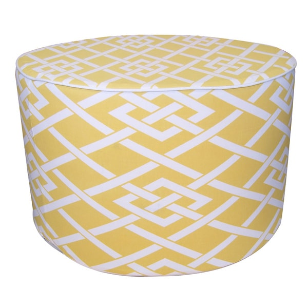Jiti Yellow Pointelle Round Outdoor Ottoman