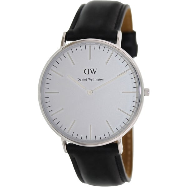 Daniel Wellington Mens Classic Sheffield Black Leather Quartz Watch