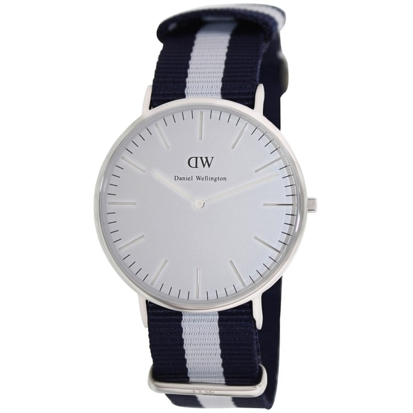 Daniel Wellington Men's Classic 'Glasgow' Black/ White Cloth Quartz Watch
