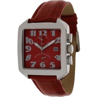 Izod Men's 608/5.RED Red Leather Analog Quartz Watch with Red Dial