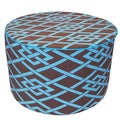 Brown Pointelle Round Outdoor Ottoman