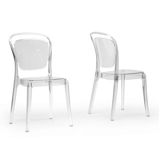Baxton Studio Ingram Clear Plastic Stackable Modern Dining Chairs (Set of 2)