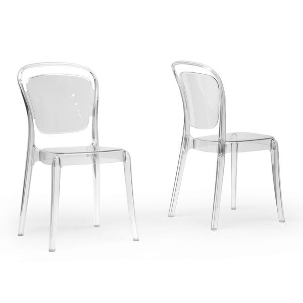 baxton studio ingram clear plastic stackable modern dining chairs set