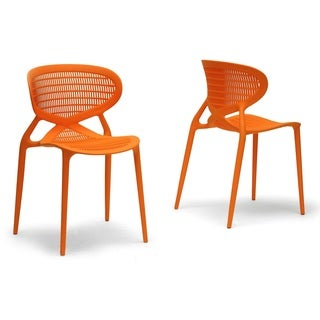 Baxton Studio Neo Orange Plastic Modern Dining Chairs (Set of 2)