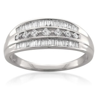 14k White Gold 1/2ct TDW Princess/ Baguette Diamond 3-row Ring (G-H, I1-I2)