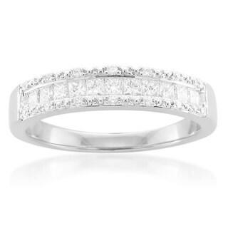 14k White Gold 1/2ct TDW Princess and Round Diamond Band (G-H, I1-I2)