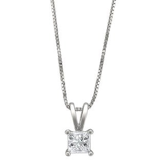 14k White Gold 1/4ct TDW Princess-cut Diamond Solitaire Necklace (H-I, I1-I2)