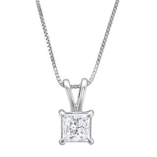 14k White Gold 1/2ct TDW Princess-cut Diamond Solitaire Necklace (H-I, I1-I2)