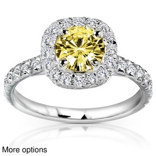 14k Yellow or White Gold Yellow Moissanite and 2/5ct TDW Diamond Engagement Ring (G-H, I1-I2)