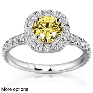 Annello 14k Yellow or White Gold Yellow Moissanite and 2/5ct TDW Diamond Engagement Ring (G-H, I1-I2)
