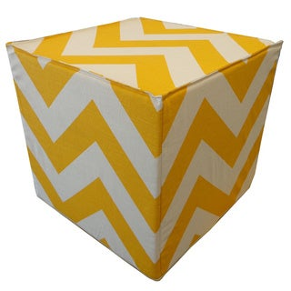 Refurbished Yellow Chevron Square Ottoman