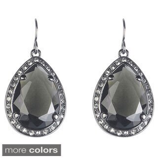 Gunmetal Glass and Crystal Titanic-inspired Drop Earrings