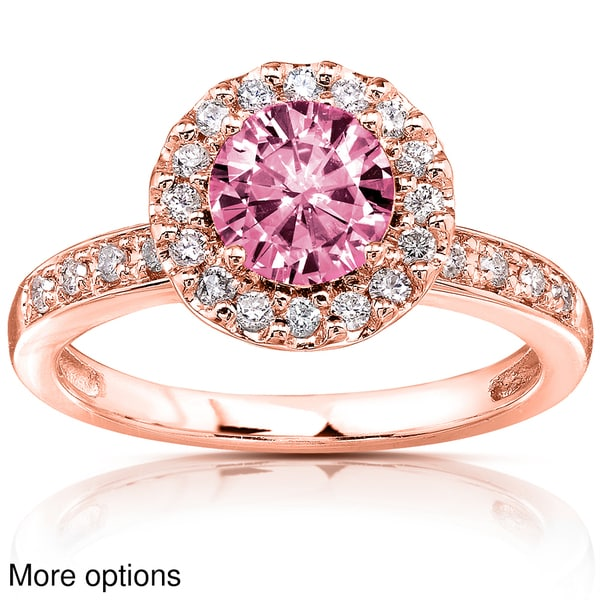 Annello 14k White or Rose Gold Pink Moissanite and 1 4ct TDW Diamond Engageme