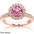 14k White or Rose Gold Pink Moissanite and 1/4ct TDW Diamond Engagement Ring (G-H, I1-I2)