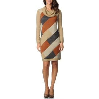 Lennie for Nina Leonard Women's Colorblocked Cowl Neck Dress