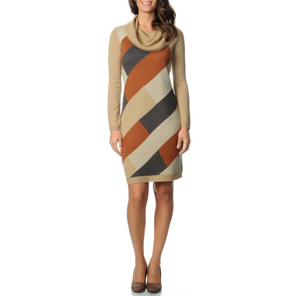 Lennie for Nina Leonard Women's Colorblocked Cowl Neck Dress