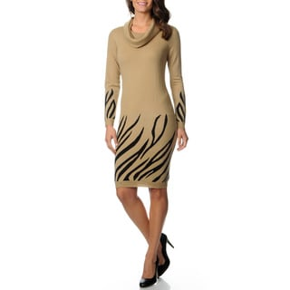 Lennie for Nina Leonard Women's Border Print Sweater Knit Dress