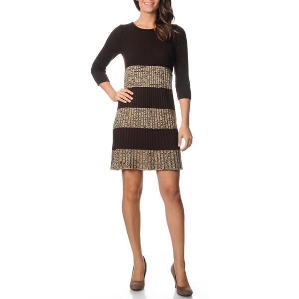 Lennie for Nina Leonard Women's Marled Pleated Sweater Dress