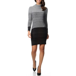 Lennie for Nina Leonard Women's Ombre Cowl Neck Sweater Dress