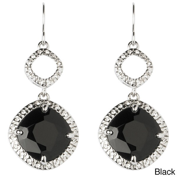 Silvertone Glass and Crystal Classic Drop Earrings