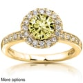14k Yellow or White Gold Yellow Moissanite and 1/4 ct TDW Diamond Engagement Ring (G-H, I1-I2)